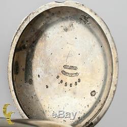 Silverine Antique Elgin Open Face Pocket Watch Gr 97 Size 18 7 Jewel