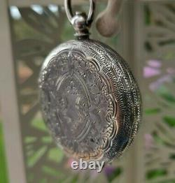 Simply beautiful antique ladies silver fob pocket watch