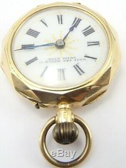 Small Antique 14 carat gold ladies Swiss fob watch. 28mm. In good working order