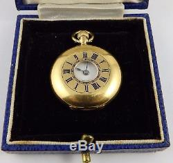 Small antique 18ct gold demi hunter fob watch JW Benson London. In Working Order