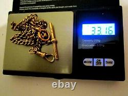 Solid 9ct Gold Albert / Pocket Watch Chain 17 Inch+ All links Stamped 33 Gram