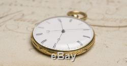 Solid Gold INDEPENDENT JUMP SECOND TWO TRAIN Antique Pocket Watch By PERRELET