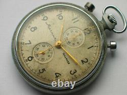 Soviet MOLNIJA Military pocket watch chronograph 3017. Vintage patina @ dial