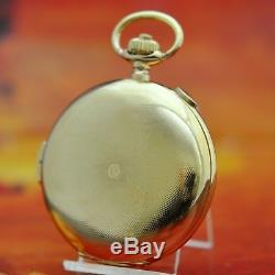 Special Antique Minute Repeater Chronograph 18k Solid Gold Hunter Pocket Watch