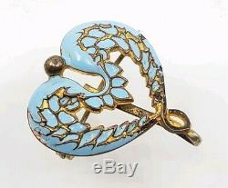 Stunning Antique Art Nouveau Enamel Angel Wings Pocket Watch Pin Brooch