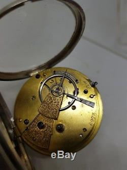 Stunning Antique silver gents fusee LONDON pocket watch 1868 working ref131