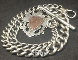Stunning HEAVY Antique Solid Silver Albert Pocket Watch Chain H. B 1898 42.6g