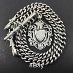 Stunning HEAVY Antique Solid Silver Double Albert Pocket Watch Chain Chester