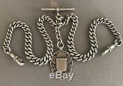 Stunning Heavy Solid Silver Double Albert Pocket Watch Chain Chester 69.6g