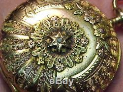 Stunning Multi-color 14k Solid Gold Rockford O Size Hc Antique Pocket Watch. Runs