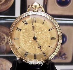Super Antique C1880 Solid 18k Gold Quality Small Mans Vest Pocket Watch Serviced