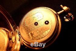 Superb Solid Gold 18k Antique Pocket Watch (Horse Head hallmark) 8 rubies WORKS
