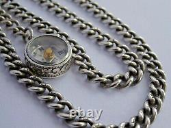 Superb antique solid silver double pocket watch albert chain, silver compass fob