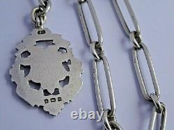 Superb antique solid silver pocket watch albert chain with silver & gold fob. 41.3g