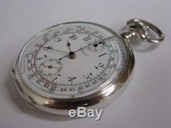 Superbe montre en argent chronographe chrono Antique chronograph pocket watch