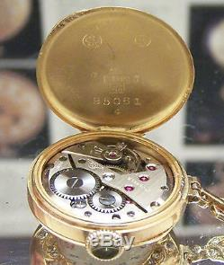 Swiss Antique Vintage Solid Gold Apprx 2 Ct Diamond Brooch / Pocket Watch C1900