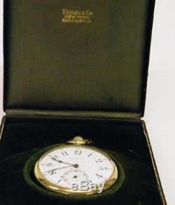 Tiffany & Co. 18K Solid Gold Antique Pocket Watch 45mm 54.9g Running With Box