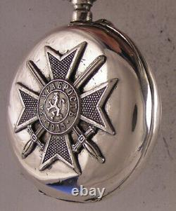 UNIQUE 1915 Antique MILITARY Award Swiss Silver Pocket Watch Perfect Serviced