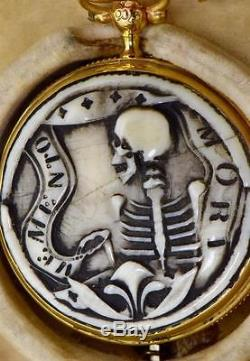 UNIQUE antique French Memento Mori Doctor's Skull 18k gold Verge Fusee watch