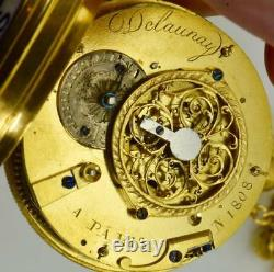 Unique antique Verge Fusee French Delaunay a Pairs Memento Mori Skull watch, 1800