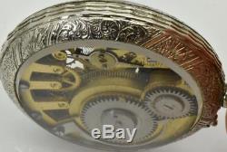 VERY RARE&UNUSUAL antique Swiss SKELETON DEMONSTRATOR pocket watch c1890