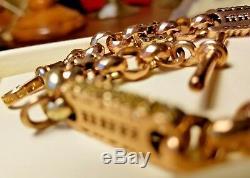 VICTORIAN ANTIQUE FANCY 9CT GOLD Rose/Yellow ALBERT Watch Chain HALLMARKED