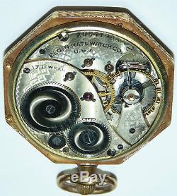 VICTORIAN OCTAGONAL ANTIQUE ELGIN 14K YELLOW GOLD POCKET WATCH VINTAGE b5