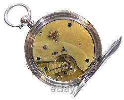 Very Large Antique 1883 Fusee Lever Silver Chronograph Pocket Watch. Serviced