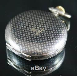 Very Rare Niello Silver Full Hunter Hebdomas 8 Days Pocket Watch For Ottoman Tu