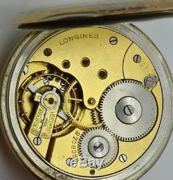 Very Rare antique 24h black dial Longines Masonic gild silver pocket watch c1900