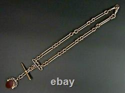 Victorian Antique 9 Ct Rose Gold Pocket Watch Albert Chain & Swivel Fob 59.8 G