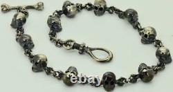 Victorian solid Sterling Silver MEMENTO MORI 12 SKULLS pocket watch chain fob