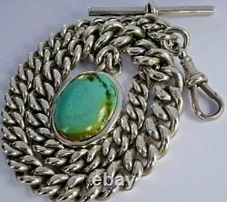 Victorian solid silver pocket watch albert chain & turquoise fob, 1893. 57.9g