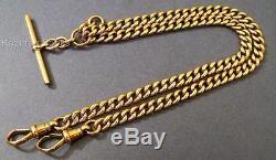 Vintage 1930 9ct Gold Fob Pocket Watch Double Albert Chain Hallmarked Gold