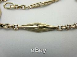 Vintage Antique 14K Solid Yellow Gold Pocket Watch Chain 18.0 grams