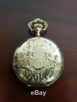 Vintage Antique Solid 14k Yellow Gold Elgin Pocket Watch Fancy Design Rare