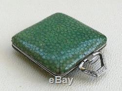 Vintage Art Deco 1930s Shagreen Miniature Travelling Folding Pocket Watch & Box