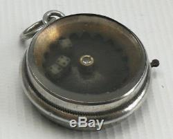 Vintage Solid Silver Gambling Spinning Three Dice Pocket Watch Albert Chain Fob
