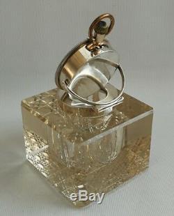 Vtg 1905 John Grinsell & Sons Solid Silver Cut Glass Inkwell Cyma Pocket Watch