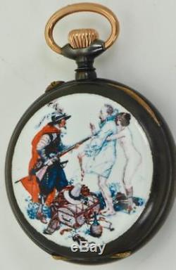 WOW! One of a kind antique Swiss gunmetal&enamel AUTOMATON Erotic pocket watch