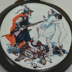 WOW! One of a kind antique Swiss gunmetal&enamel AUTOMATON Erotic pocket watch