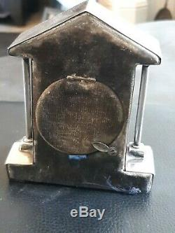 Waller And Hall Rare Silver Pocket Watch Stand in Clock form Sheffield 1907