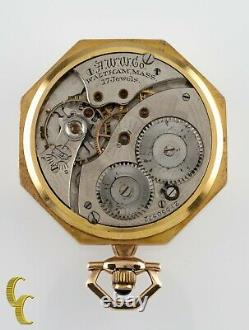 Waltham Octagon Antique 14k Open Face Pocket Watch Gr 225 12S 17 Jewel