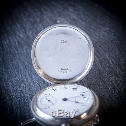 Waltham Sterling Silver 17 Jewel Full Hunter Pocket Watch + Chain + Case