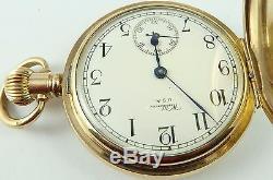 Waltham USA Antique RG keyless hunter pocket watch In Good Working Order