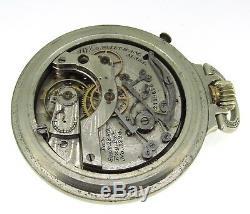 Waltham Watch Co. A. W. Silver Antique Chronograph Pocket Watch 54 MM