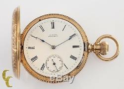 Waltham Wm. Ellery Antique 14K Yellow Gold Full Hunter Pocket Watch 8S 7-Jewel