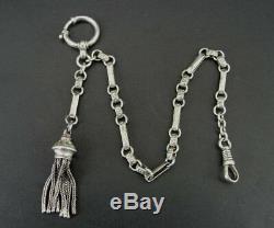 Watch Chain 800 Silver Antique Tassel Fob Vintage Pocket Watch Chain